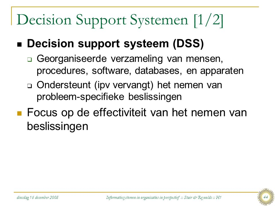 Decision Support Systemen [1/2]